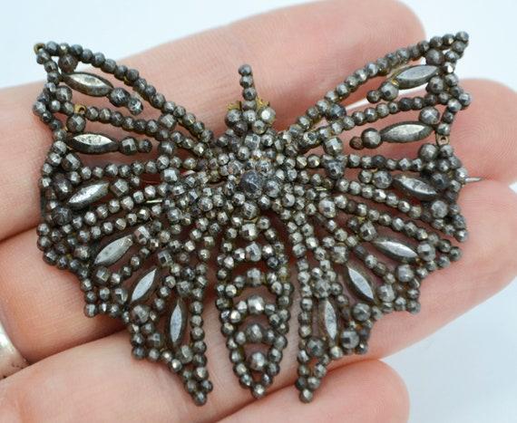 HUGE Georgian CUT STEEL Butterfly / Moth Antique B