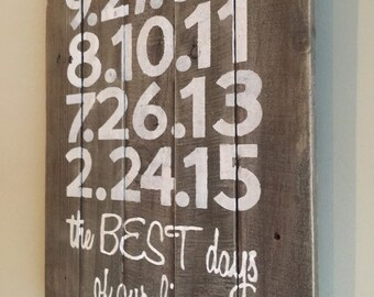 Best days of our lives/important dates/wall decor/memories