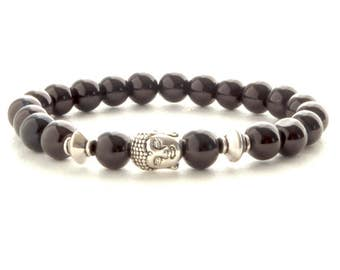 Buddha Bracelets with Black Beads, Mens Stone Bracelet, Black Gem Stone Bracelet, Zen Bracelet, Mens Gift, Unique gift for her, gift for him