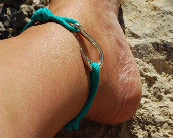 Womens Fish Hook Anklet - Pick your Colour Rope Bracelet for Ankle - Fish Hook Paracord Anklet - Single Wrap Anklet - Anchor Paracord