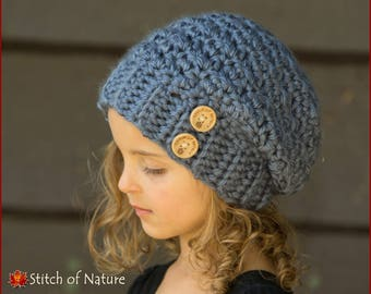 3a23b0be538 Crochet PATTERN - The Woodridge Slouchy Hat Pattern (Toddler to Adult sizes  - Girls