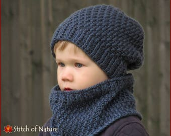 Crochet PATTERN - The Portland Slouchy Hat and Cowl Set Pattern (Baby to  Adult sizes - Boys 6779ea09199