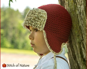20c4f1349f7 Crochet PATTERN - The Red Baron Aviator Hat