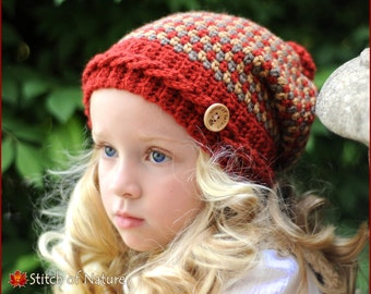 c7b057e4e5f Crochet Hat PATTERN - The Claiborne Slouchy Hat (Toddler to Adult sizes -  Girls