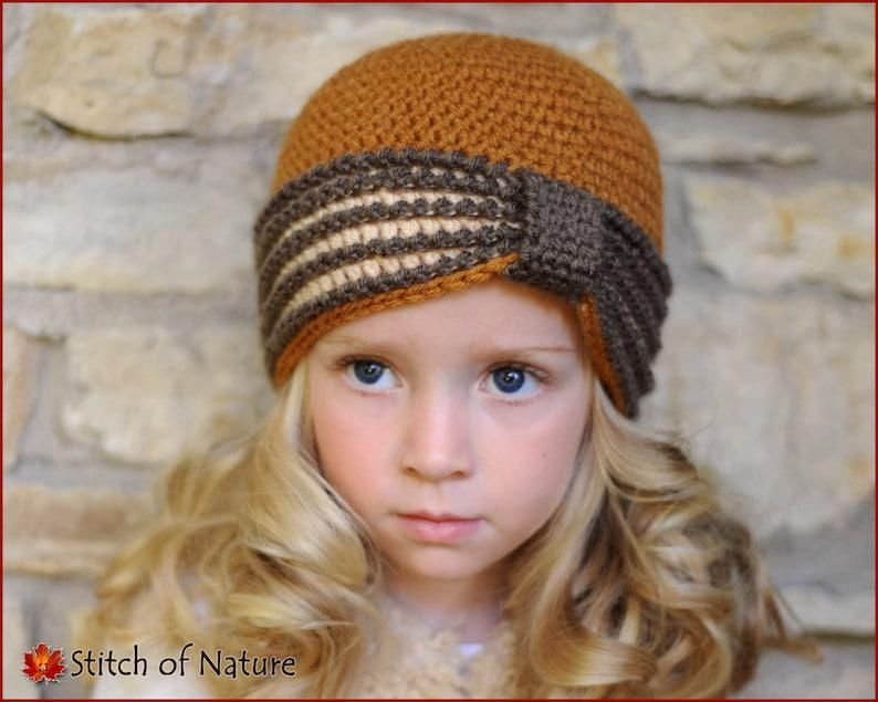 8bc2dba0f Crochet PATTERN - The Eleanor Turban Hat, 1920s Hat Pattern (Baby to Adult  sizes - Girls) - id: 16022