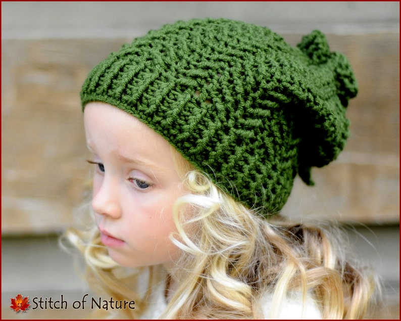 6ca400a89ff Crochet PATTERN The Cascade Slouchy Hat Toddler to Adult