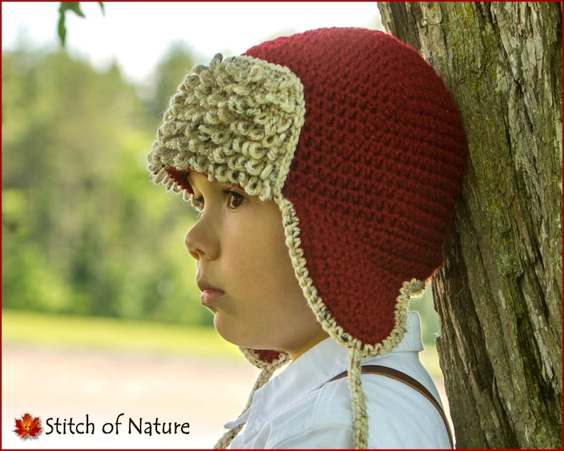 39159b10c5d Crochet PATTERN The Red Baron Aviator Hat Pilot Hat Pattern