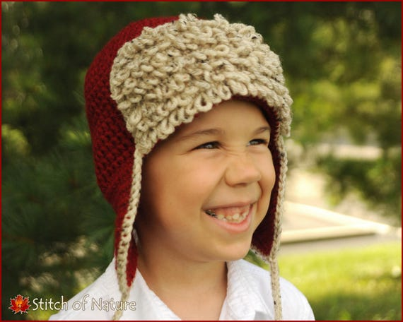 f90c83b40f4 ... reputable site 5d192 f2ae4 Crochet PATTERN The Red Baron Aviator Hat  Pilot Hat Pattern ...