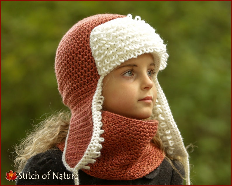 Crochet PATTERN The Yukon Trapper Hat and Cowl Bomber Hat  4451a0d4821