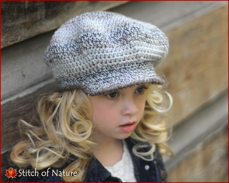 015529ea08 Crochet Hat PATTERN - The Belmont Scally Cap, Newsboy Hat Pattern (18 inch  doll size, Newborn to Adult sizes - Girls, Boys) - id: 16019