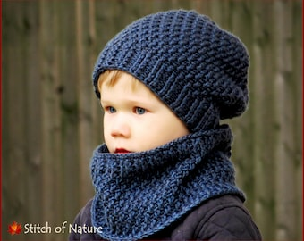 Crochet PATTERN - The Portland Slouchy Hat and Cowl Set Pattern, Crochet Slouchy Beanie (Baby to Adult sizes - Boys, Girls) - id: 16062