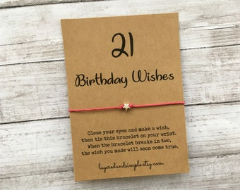 Wish Bracelet 21st Birthday Gift Party Favors Milestone For Her