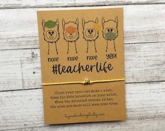 Teacher Gifts Teacher Appreciation Gift Teacher Wish Bracelet, Preschool Teacher Gifts #teacherlife Back To School First Day Of School