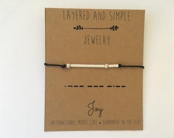 JOY Bracelet / Custom Morse Code, Morse Code Bracelet, Morse Code Bracelet Silver Gold Rose Gold, Bracelet Morse Code, Morse Code Jewelry