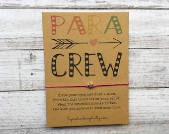 Para Gifts Para Crew Para Squad Gift for Paraprofessionals Wish Bracelet Teacher Gifts Teacher Appreciation Para Gift Paraprofessional Gift