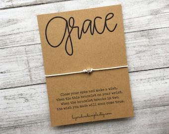 Wish Bracelet, Grace Wish Bracelet, Grace, Religious Gift, Faith Gifts, Gift of Faith, Grace Bracelet, Amazing Grace, Sunday School Gifts