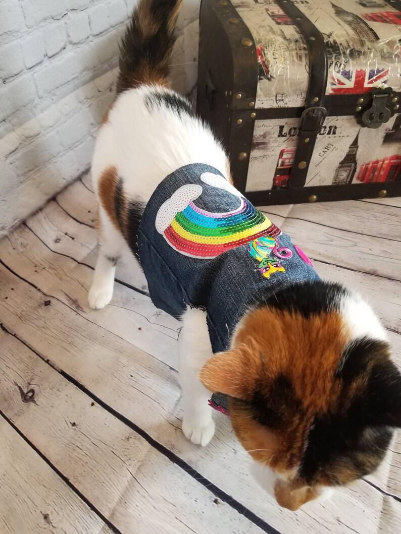 Denim Cat Vest wSequin /& Embroidered Patches Pride Rainbow Handmade Unique Novelty Feline Accessory Vest Repurposed Materials New Cat City