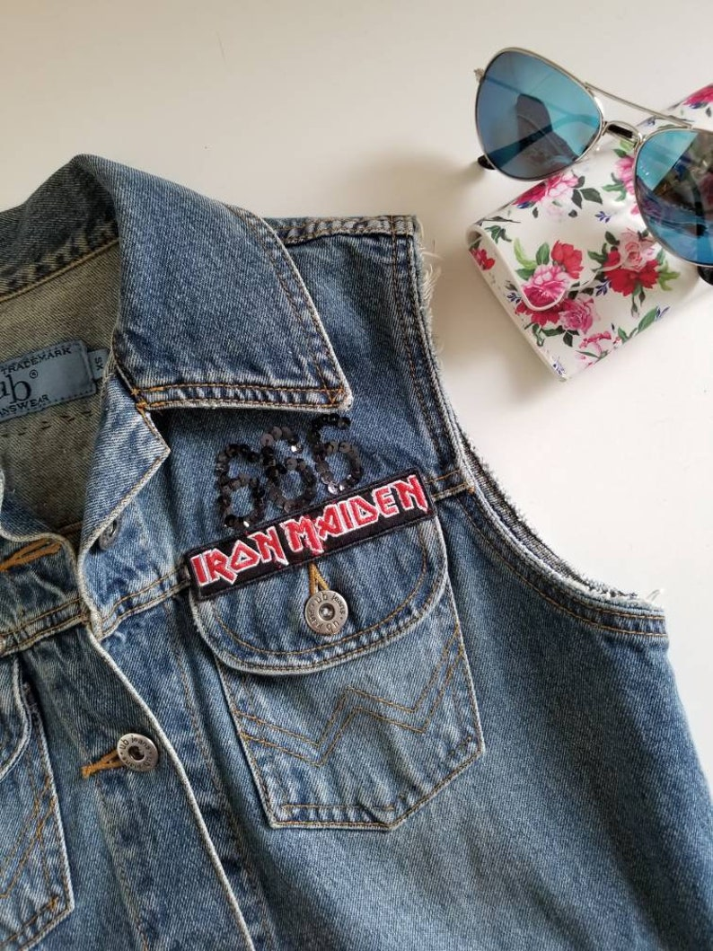 Denim Vest with Iron Maiden The Trooper Embellishments Made with Repurposed Materials