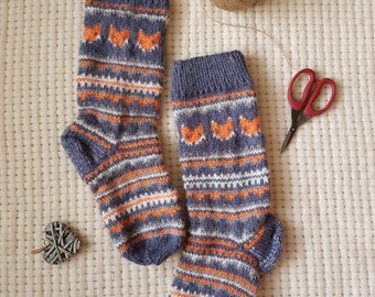 7e5ce5a37959a3 Fox Ornament Hand knit wool socks Angora - Gray Orange and White - Fine  thick warm wool socks gift Womens and Mens