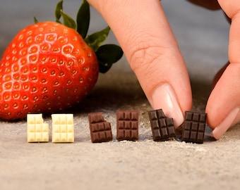 Chocolate Bar Stud Earrings, Titanium Earrings, Food Jewelry, Polymer Clay Chocolate, Miniature Sweets, Gift for Chocolate Addict