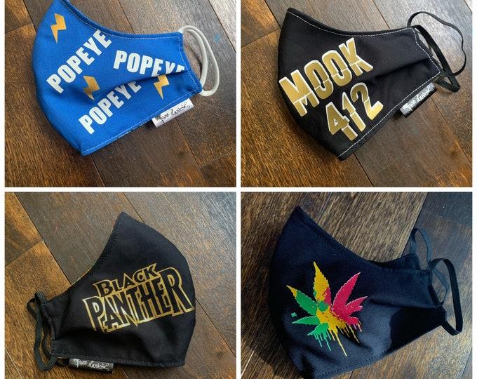 Custom Designs | Custom Words | Custom Logo | Custom Photo Cotton Face Mask, Pollen Mask, Dust Mask, Travel Mask, Double Layered & Washable