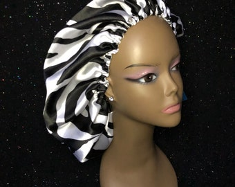 Zebra Print Satin Bonnet (Please Specify Infant and Childrens Age)