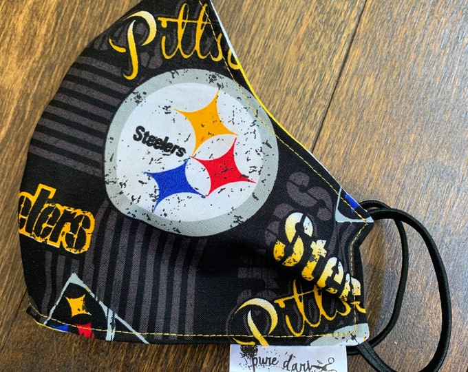 Pittsburgh Steelers Cotton Face Mask, Pollen Mask, Dust Mask, Travel Mask, Double Layered & Washable