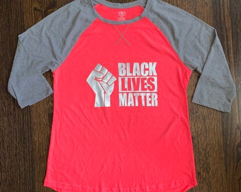 BLACK LIVES MATTER Raglan 3/4 Sleeve Baseball T-Shirt *Clearance*