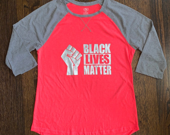 BLACK LIVES MATTER Raglan 3/4 Sleeve Baseball T-Shirt *Clearance*