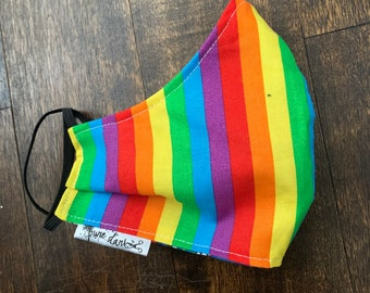 Rainbow Cotton Face Mask, Pollen Mask, Dust Mask, Travel Mask, Double Layered & Washable