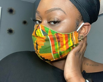 African Kente Cotton Face Mask, Pollen Mask, Dust Mask, Travel Mask, Double Layered & Washable