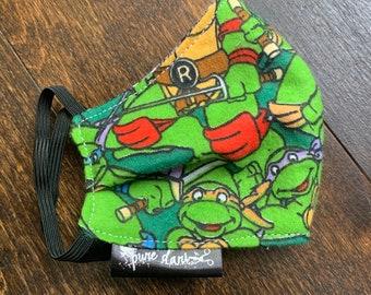 Teenage Mutant Ninja Turtles (TMNT) Cotton Face Mask, Pollen Mask, Dust Mask, Travel Mask, Double Layered & Washable