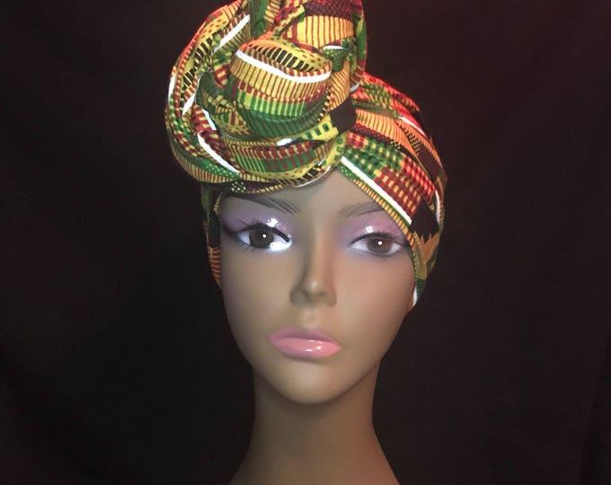 African Kente Head-wrap, Head-scarf, Headband, HairTie