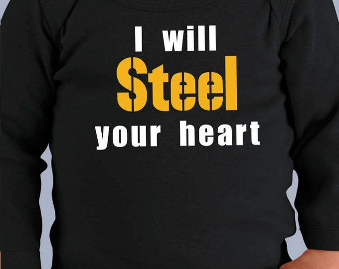 Pittsburgh Steelers LONGSLEEVE Onesies (Also Available w/Glitter Text)