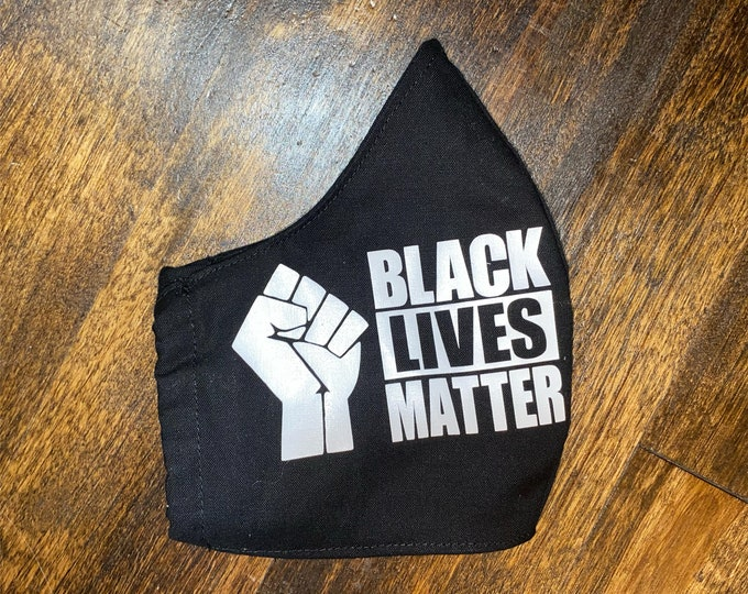 Black Lives Matter w/Fist Cotton Face Mask, Pollen Mask, Dust Mask, Travel Mask, Double Layered & Washable