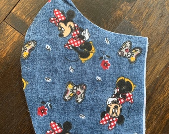 Minnie Mouse Cotton Face Mask, Pollen Mask, Dust Mask, Travel Mask, Double Layered & Washable