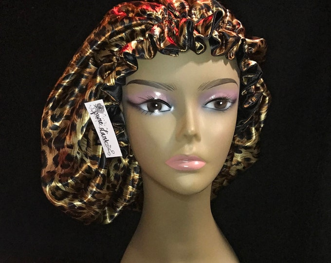 Cheetah Print Reversible Satin Bonnet