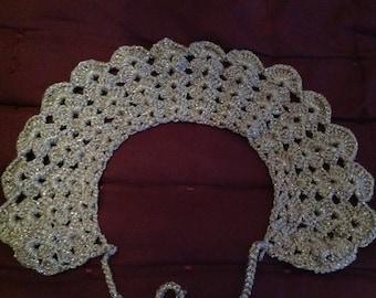 Silver crochet Peter Pan collar
