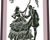 Young Man Gives a Rose to the Girl - SILHOUETTE MONOCHROME Cross Stitch Pattern, Needlepoint Pattern Digital PDF instant download