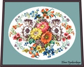 Floral ornament- BERLIN WOOLWORK embroidery pattern, Cross stitch, Needlepoint Tapestry pattern, PDF - instant download