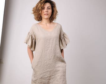 d32307879f Modern linen tunic dress with ruffles   V neck dress for summer holiday    oversize mini women apparel   summer trend   mini bridesmaid dress
