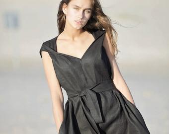 0175e867c6 Black linen dress   loose fit summer dress   sleeveless dress   linen tunic  dress   casual or holiday linen dress   natural fabric cloth