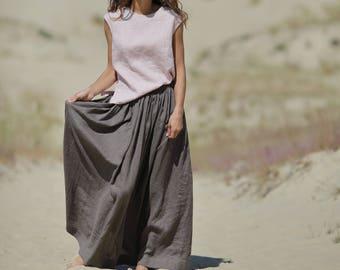 e10f3f768c Long linen skirt. Elastic waistband skirt. Skirt with pockets. Handmade  skirt. Maxi skirt. Summer skirt. Flax skirt.
