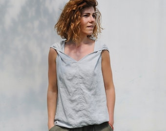 42bfa505c12a5b Linen ladies tank top. Linen tunic. Sleeveless summer linen shirts. Trendy  blouse. Leisurewear. White elegant blouse. Linen t shirt.