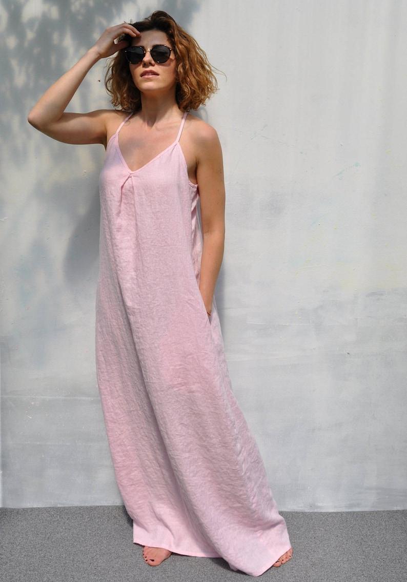 da7776acd0 Long linen dress. Tunic dress. Pale pink dress. Oversize