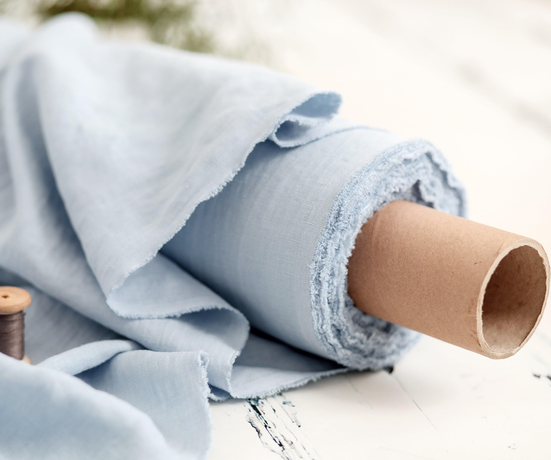 Lithuanian linen  Linen fabric  Sky blue color linen  Medium weight