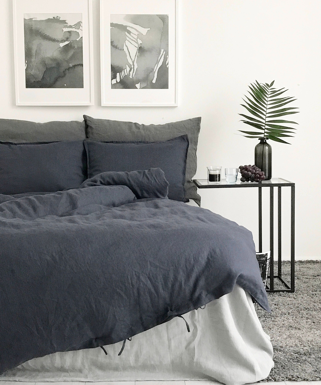 Linen Duvet Cover Charcoal Color Duvet Soft Organic Bedding