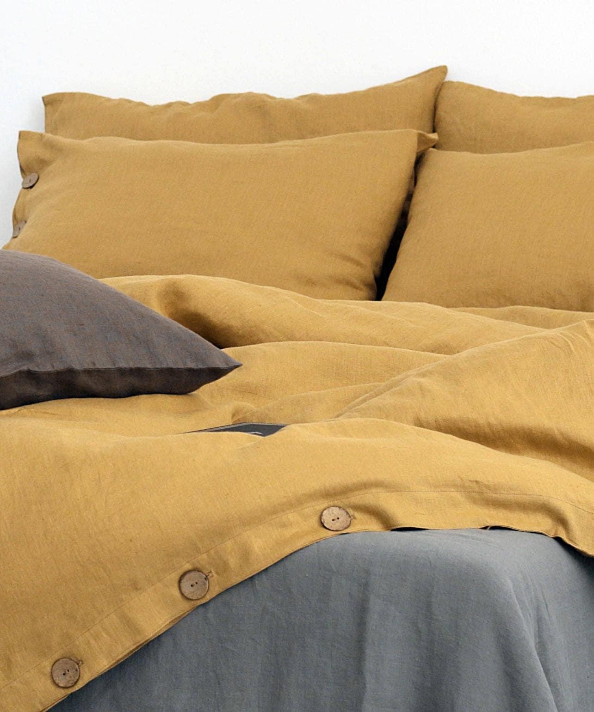 Linen Duvet Cover. Mustard Color Duvet. Linen Quilts