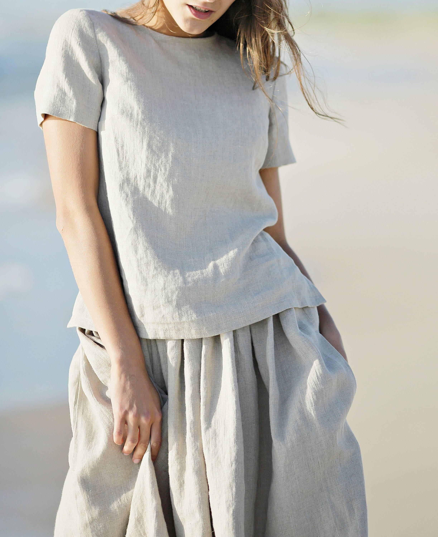 Linen tank top. Women shirt. Linen shirt. Linen top. Short sleeves blouse.  Trendy blouse. Summer linen shirts. Flax blouse. 2c52c13c4