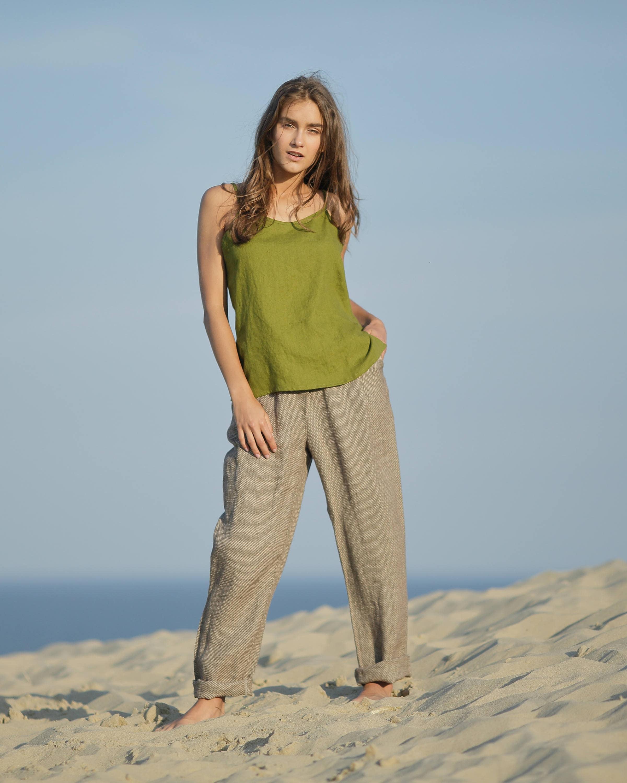 3d3528c0c68b Linen blouse. Linen crop top. Linen sleeveless top. Top with straps.  Organic women shirt. Linen clothing. Summer shirts.